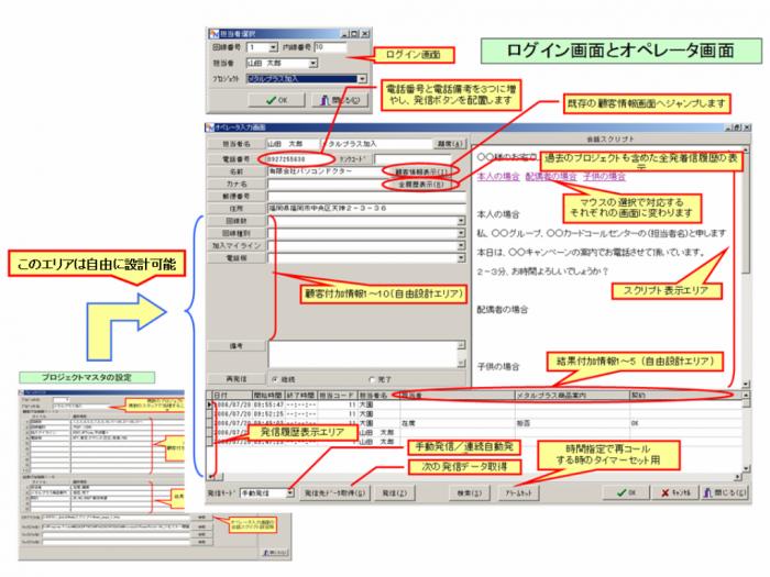 アウトバウンドコールセンターシステムのログイン画面とオペレーター画面