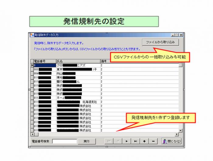 アウトバウンドコールセンターシステムの発信規制先設定
