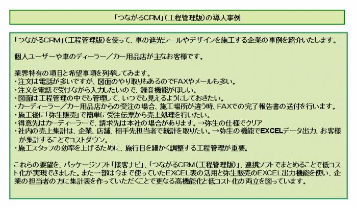 「つながるCRM」(工程管理版)の導入事例