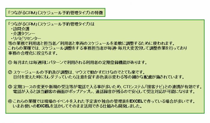 「つながるCRM」(スケジュール予約管理)の特徴