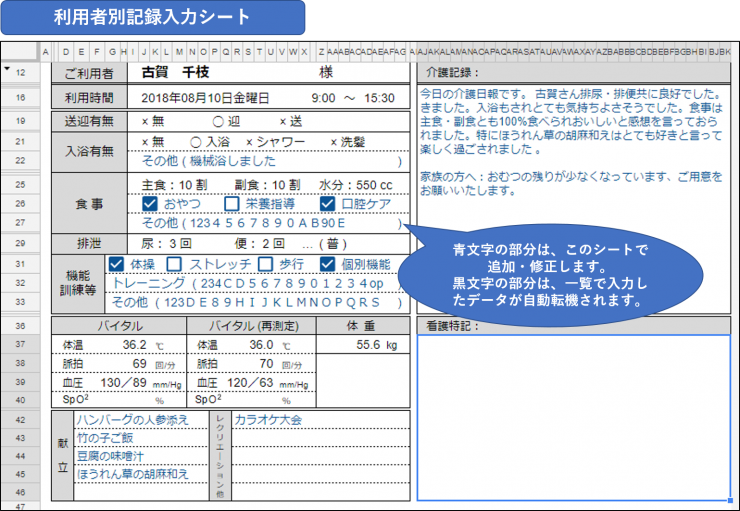 介護記録システム利用者別記録入力シート