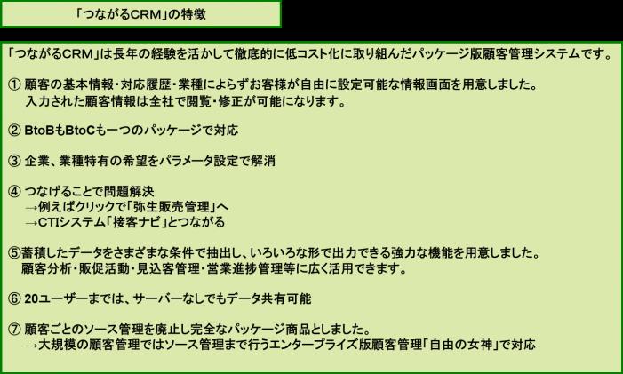 「つながるCRM」の特徴